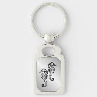 Het Zilver van Seahorse Zilverkleurig Rechthoekige Sleutelhanger