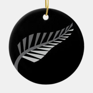 Het zilveren afbeelding van Nieuw Zeeland van de Rond Keramisch Ornament
