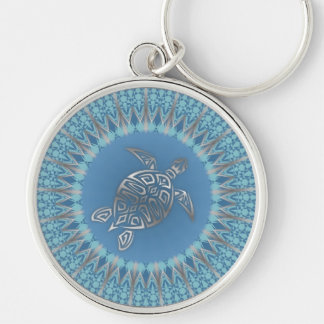 Het zilveren Blauwe Dier van de Schildpad Zilverkleurige Ronde Sleutelhanger