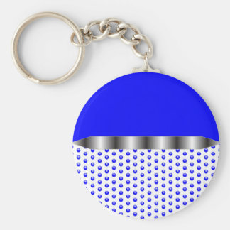 het zilveren Blauwe Wit van het Metaal Sleutelhanger