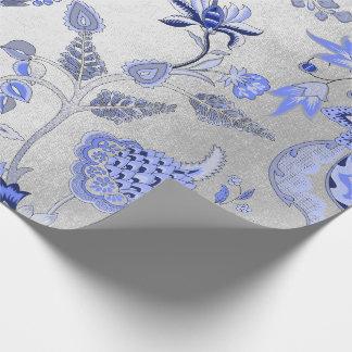 Het zilveren Bloemen Blauwe Grijze Kobalt van de Inpakpapier