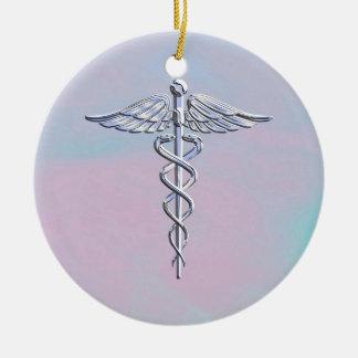 Het zilveren Caduceus Medische Decor van de Parel Rond Keramisch Ornament