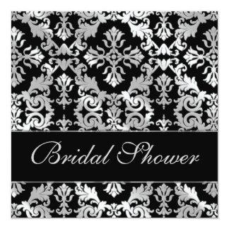 Het zilveren en Zwarte Elegante Vrijgezellenfeest 13,3x13,3 Vierkante Uitnodiging Kaart