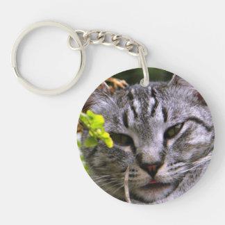 Het zilveren Gezicht Keychain van de Kat van de 2-Zijde Ronde Acryl Sleutelhanger