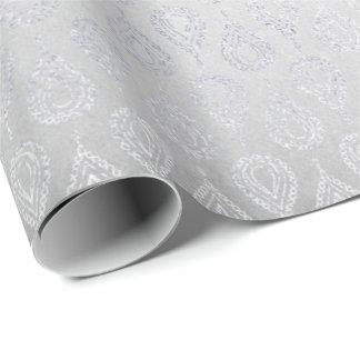 Het zilveren Grijze BloemenOrnament van de Pauw Inpakpapier