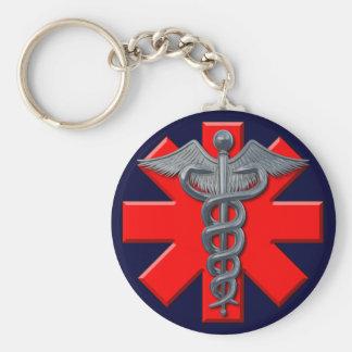 Het zilveren Medische Symbool van het Beroep Basic Ronde Button Sleutelhanger