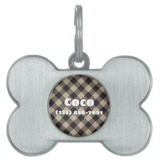 Het zilveren Ontwerp van de Plaid van het Label Huisdieren Naamplaatje