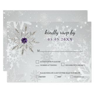 het zilveren paarse huwelijk van de 8,9x12,7 uitnodiging kaart