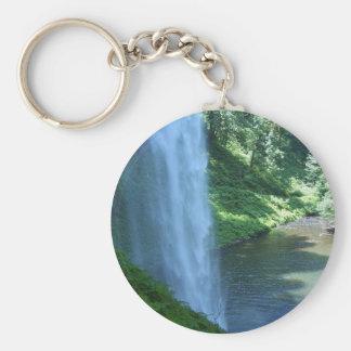 Het zilveren Park van de Staat van Herfsten Keycha Basic Ronde Button Sleutelhanger