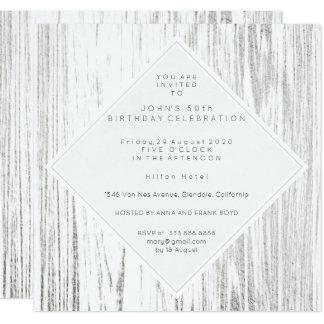 Het zilveren Witte Houten Minimale Blauw van de 13,3x13,3 Vierkante Uitnodiging Kaart