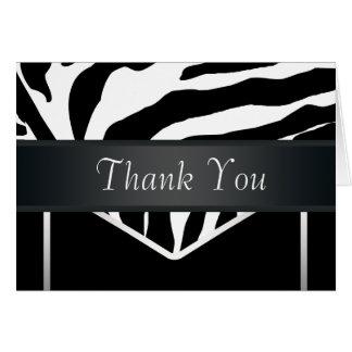 Het zilveren Zwarte Elegante Zebra dankt u kaardt Kaart