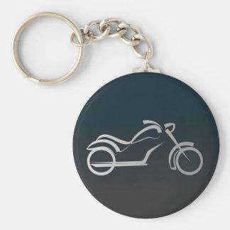 Het zilveren Zwarte Gladde Overzicht van de Motor  Basic Ronde Button Sleutelhanger