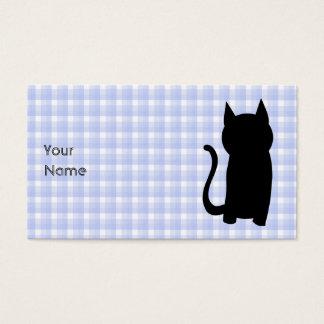 Het zittende Zwarte Silhouet van de Kat. Op Visitekaartjes