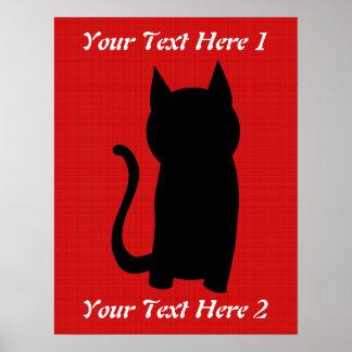 Het zittende Zwarte Silhouet van de Kat Poster