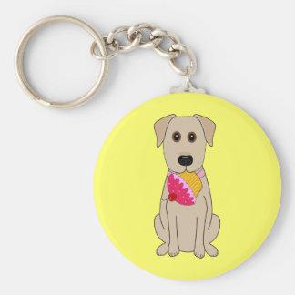 Het zoete Gele Laboratorium van de Hond met Cupcak Basic Ronde Button Sleutelhanger
