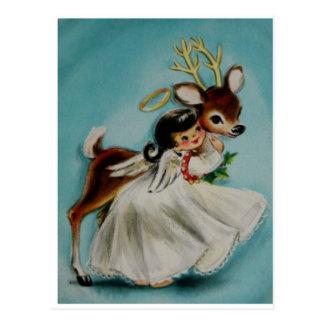 Het zoete Meisje die van de Engel schattige herten Briefkaart