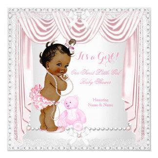 Het zoete Roze Etnische Satijn van het Baby shower 13,3x13,3 Vierkante Uitnodiging Kaart