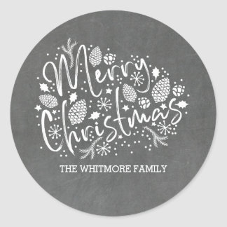 Het zoete Vrolijke Bord van Kerstmis Ronde Sticker