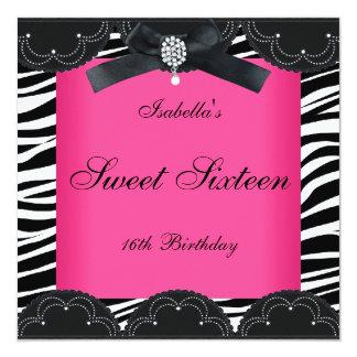 Het zoete Zestien 16 Roze Zwarte Witte Zebra van 13,3x13,3 Vierkante Uitnodiging Kaart