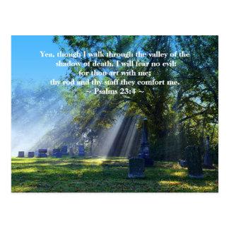 Het Zonlicht van het 23:4 van psalmen in Briefkaart