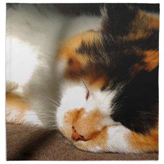 Het Zonnen van de Kat van het calico Katoenen Servet