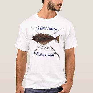 Het zoutwater van de heilbot fishermans t shirt