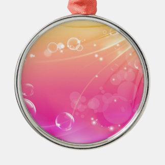 Het zuivere roze abstracte gloeien als achtergrond zilverkleurig rond ornament