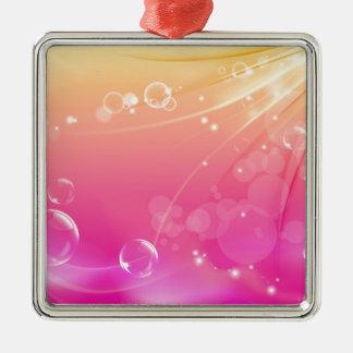 Het zuivere roze abstracte gloeien als achtergrond zilverkleurig vierkant ornament