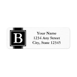 Het zwart-witte Adresetiket Met monogram van de Etiket