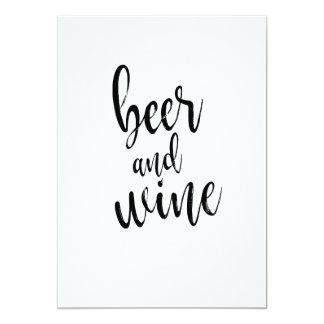 Het Zwart-witte Betaalbare Teken van het bier en 12,7x17,8 Uitnodiging Kaart
