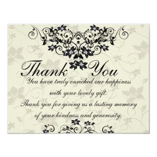 Het zwart-witte BloemenHuwelijk dankt u kaardt 10,8x13,9 Uitnodiging Kaart