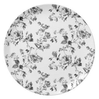 Het zwart-witte BloemenPatroon van Rozen Melamine+bord