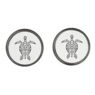Het zwart-witte Dier van Schildpadden Verbronsde Manchetknopen