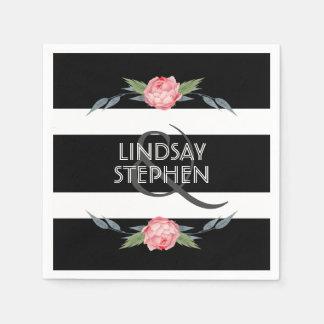 Het zwart-witte Elegante Roze BloemenHuwelijk van Wegwerp Servetten