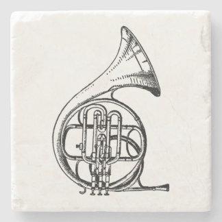 Het zwart-witte Franse Muzikale Instrument van de Stenen Onderzetter