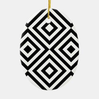 Het zwart-witte Geometrische Patroon van de Lijn Keramisch Ovaal Ornament