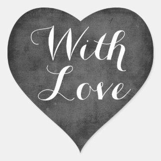 Het Zwart-witte Huwelijk van de vintage Liefde van Hartvormige Sticker