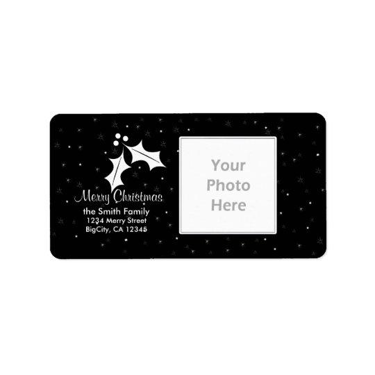 Het zwart-witte Lijst van de Foto van Kerstmis Etiket