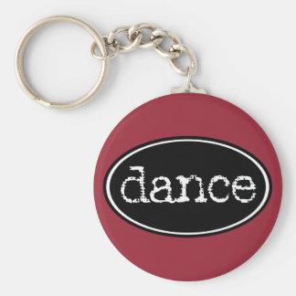 Het zwart-witte Ovaal van de Dans Basic Ronde Button Sleutelhanger