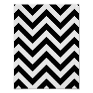 Het zwart-witte Patroon van de Chevron van de Zigz Poster