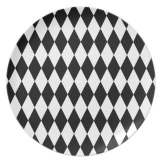 Het zwart-witte Patroon van de Diamant Melamine+bord