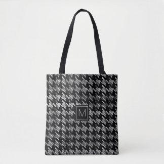 Het zwart-witte Patroon van Houndstooth van het Draagtas