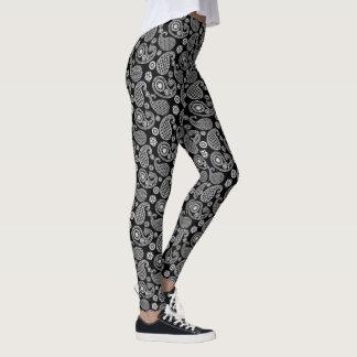 Het Zwart-witte patroon van Paisley, Leggings