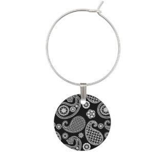 Het Zwart-witte patroon van Paisley, Wijnglashanger