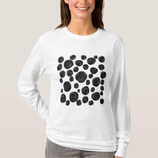 Het zwart-witte, Patroon van Rozen T Shirt