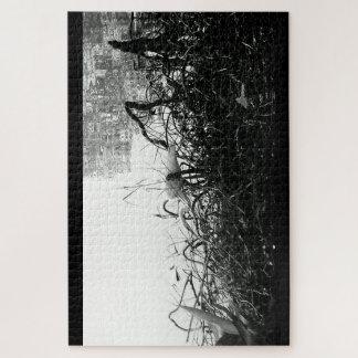 Het zwart-witte Raadsel van de Kraan Legpuzzel