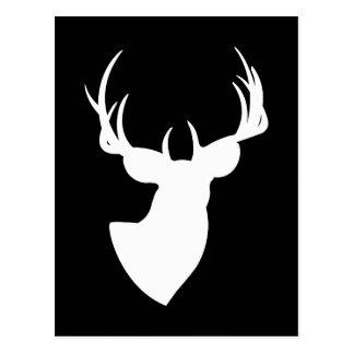 Het zwart-witte Silhouet van Herten Briefkaart