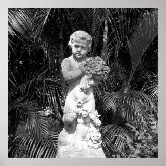 Het zwart-witte Standbeeld van het Kind van de Poster