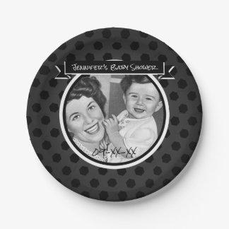 Het zwart-witte Vintage Baby shower van het Mamma Papieren Bordje