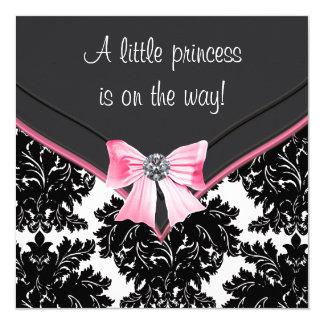 Het zwarte Baby shower van de Prinses van de Boog 13,3x13,3 Vierkante Uitnodiging Kaart